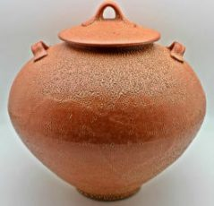 crackle shino stoneware jar by lynn munns