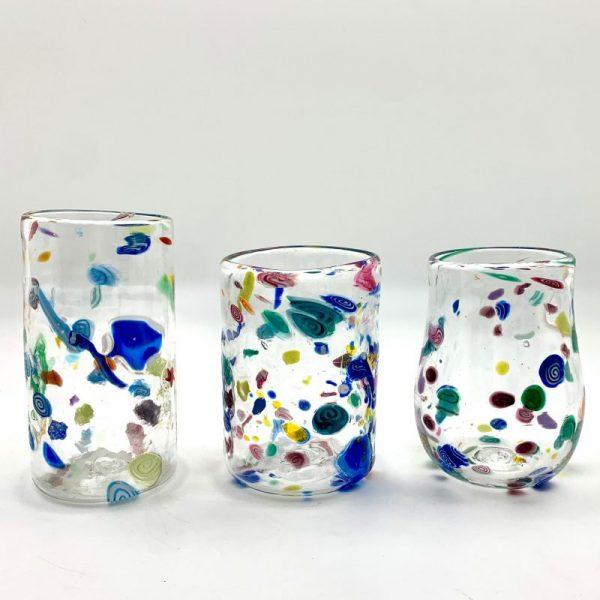 hand-blown confetti glassware by daniel gaumer