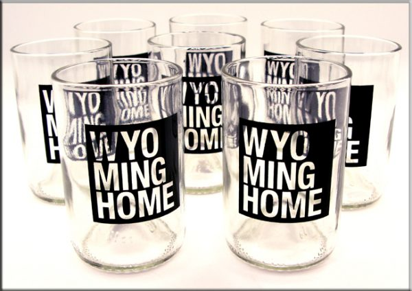 black Wyoming Home Recycled Wine Bottle Glasses by Green Glass