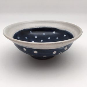 polka dot blue white Stoneware Bowl by Margo Brown