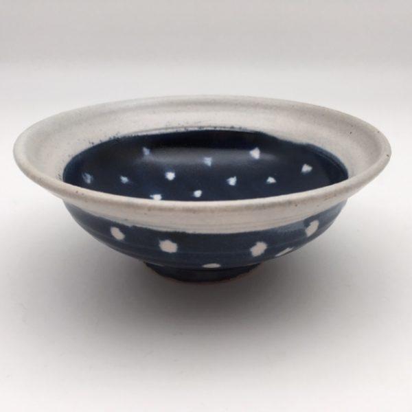 polka dot blue white Stoneware Bowl by Margo Brown