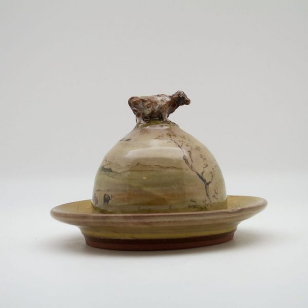 brown Terracotta Butter Dish with cow on top by Mary Briggs