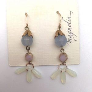 teardrop blue white dusty rose Earrings by Kate Harness