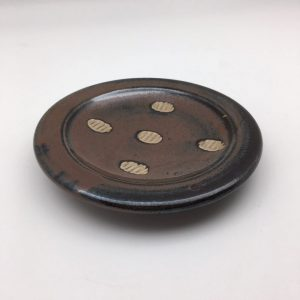brown polka dot Stoneware Plate by Lynn Munns