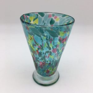 multi-color Kingston Art Glass Hand-Blown Teal Cup
