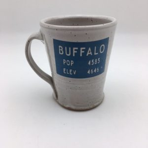 blue gray Stoneware Buffalo Wyoming Mug by Stephen Mullins