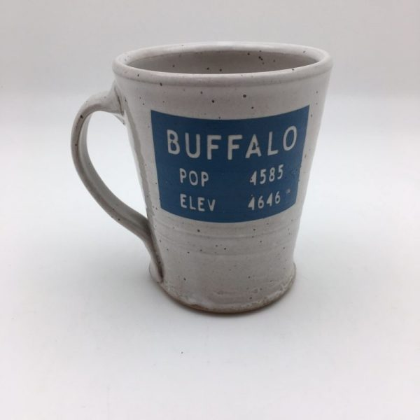 blue gray Stoneware Buffalo Wyoming Mug by Stephen Mullins
