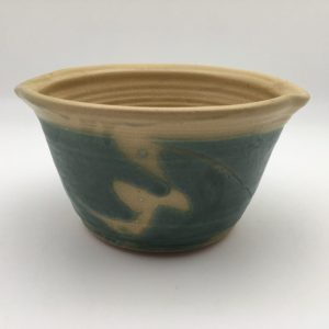 teal tan Stoneware Macaroni Pot by Margo Brown
