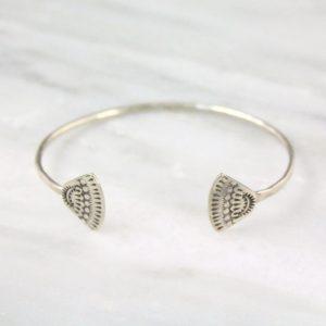 Hand Stamped Sterling Bracelet Asmi Triangle Open Cuff Bracelet