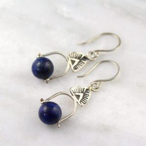Pinned Lapis Southwest Triangle Earrings by sarah deangelo