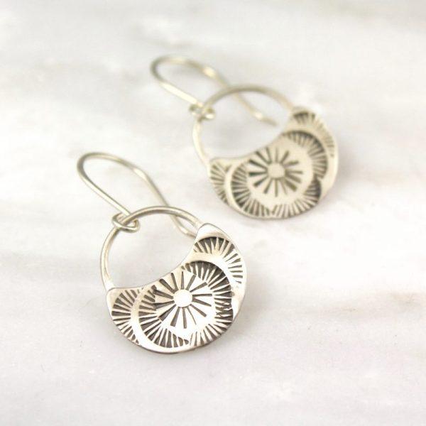 sterling silver Sunburst Swirl Half Moon Earrings by sarah deangelo