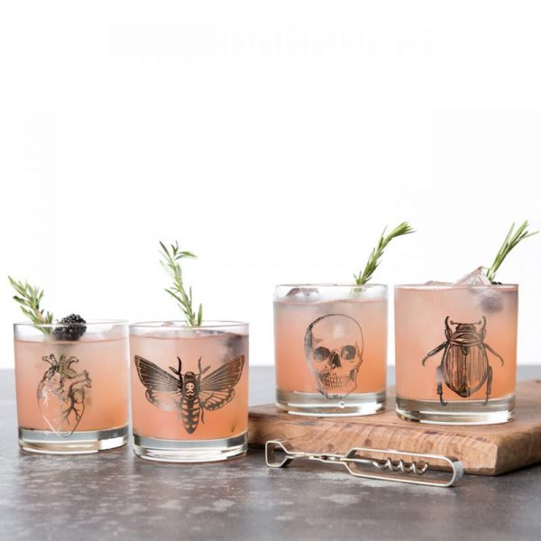 Macabre Rocks Glass Set of 4 by Counter Couture skull heart beetle butterfly