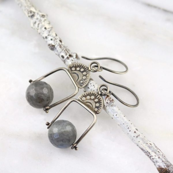 Wanderer Pinned Labradorite Oxidized Silver Earrings