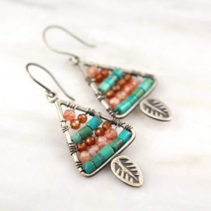 Leaf Triangle with Turquoise and Sunstone Earrings