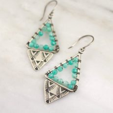 turquoise Amazonite and Sterling Hand-Stamped Earrings by Sarah DeAngelo