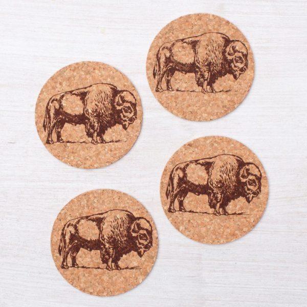 Cork Bison Coasters