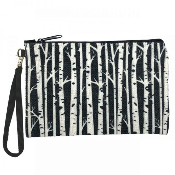 Black white Birch Zippered Pouch