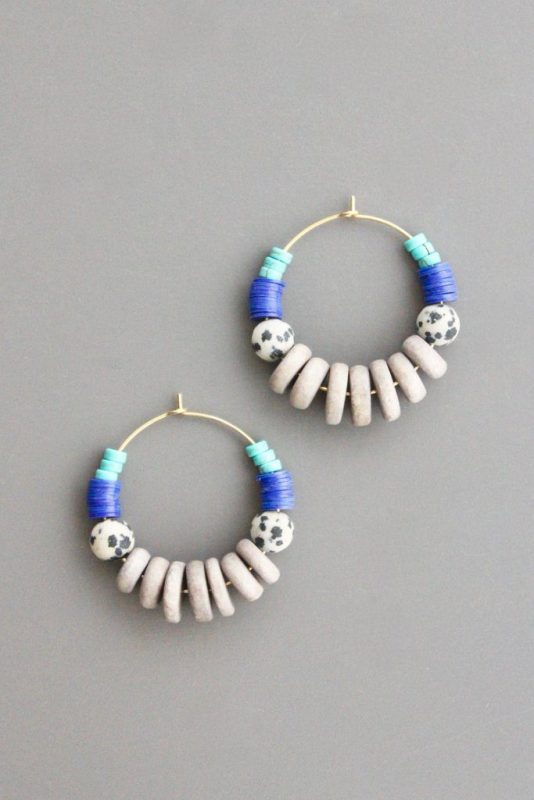 white blue Gold Plated Brass Hoops by David Aubrey Designs