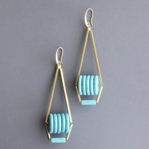 mint gold Funky Earrings by David Aubrey Designs