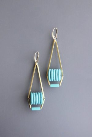 mint gold Funky Earrings by David Aubrey Designs