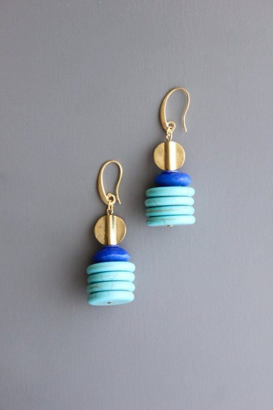 mint blue Glass Earrings by David Aubrey Designs