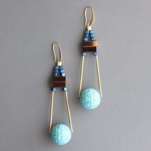 mint gold Ball Earrings by David Aubrey Designs - ZLDE30