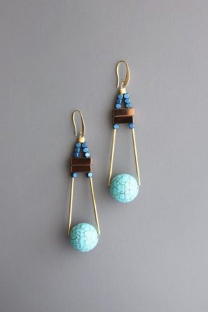 mint gold Ball Earrings by David Aubrey Designs - ZLDE30