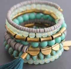 turquoise gold beaded Wrap Bracelet by David Aubrey