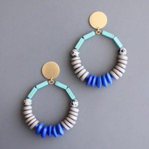 mint white blue Brass Post Earrings by David Aubrey Designs