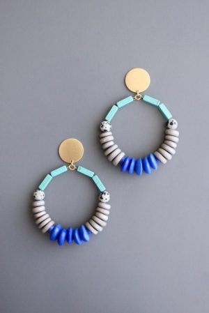 mint white blue Brass Post Earrings by David Aubrey Designs