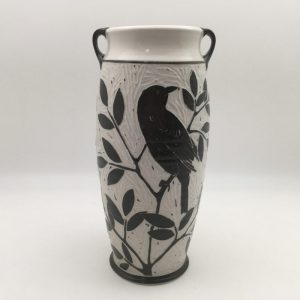 black and white Salt-Fired Porcelain Blackbird Vase by Karen Newgard