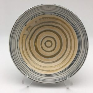 striped blue tan Porcelain Pasta Bowl by Claire Weissberg