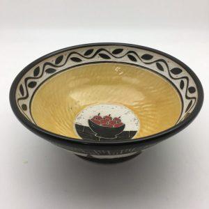 yellow patterned Porcelain Salt-Fired Bowl by Karen Newgard