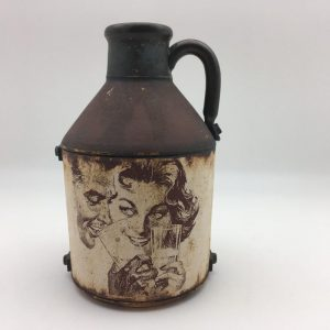 vintage black brown tan Jug by Steve Hansen