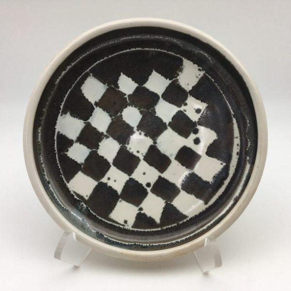 black and white checkered Porcelain Bowl by Margo Brown - 8691