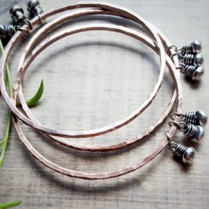 Boho Copper Bangles With Sterling Silver Fringe by Andewyn Moon