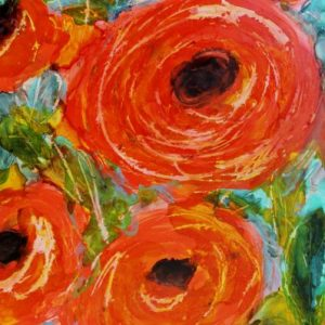 Orange teal green Flowers painting by Kelsey McDonnell
