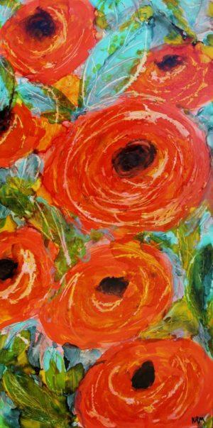 Orange teal green Flowers painting by Kelsey McDonnell