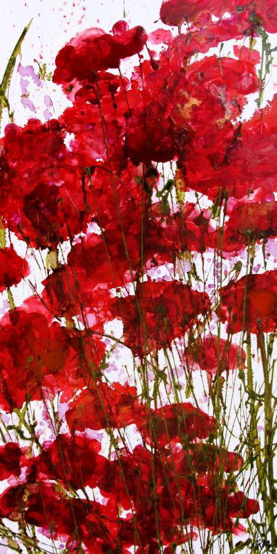 Red Flowers on white background painting by Kelsey McDonnell