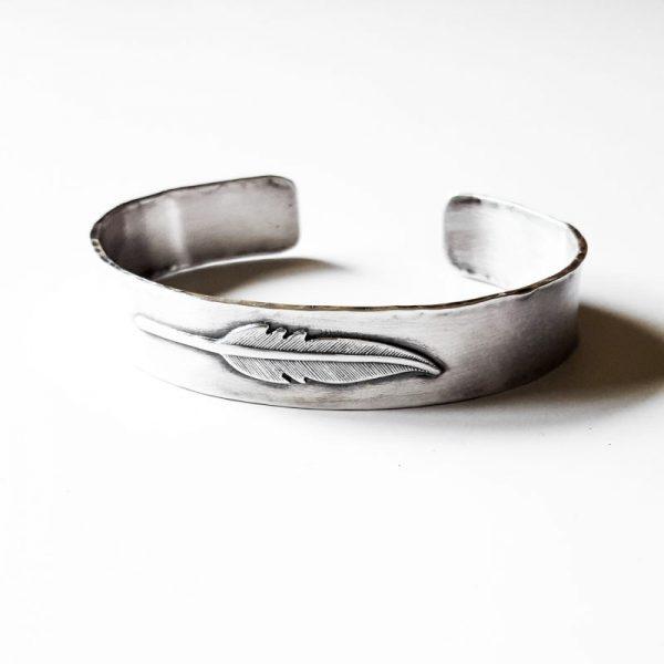 Southwestern Sterling Silver Little Feather Cuff by Andewyn Moon