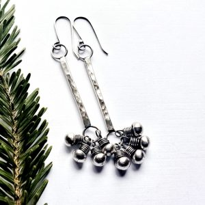 Sterling Silver Fringed Long Bar Clasp Earrings by - Andewyn Moon