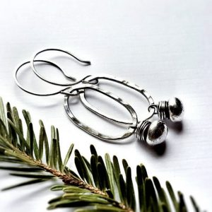 hammered Sterling Silver Fringed Oval Earrings by Andewyn Moon