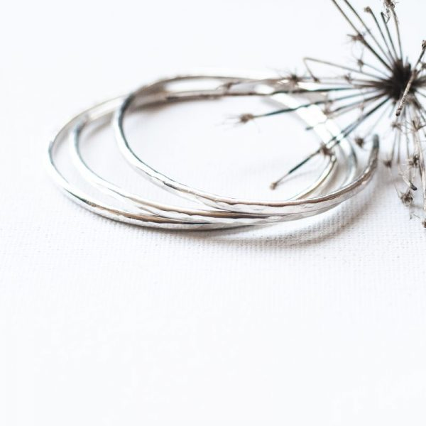 sterling silver Hammered Recycled Sterling Silver Cuff Bracelet by Andewyn Moon