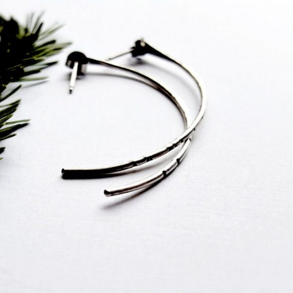 curved bar Sterling Silver Ti'An Stud Earrings by Andewyn Moon