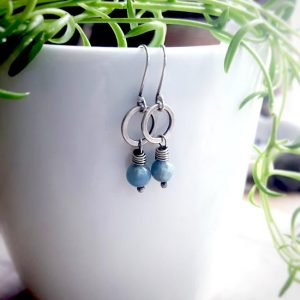 Sterling Silver Amazonite Un Petit Clasp Earrings by Andewyn Moon