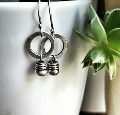Sterling Silver Small Circle Single Bead Earrings by Andewyn Moon