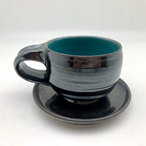 teal black Porcelain Latte Cup and Saucer by Margo Brown