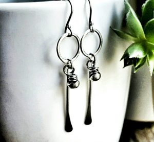 Sterling Silver Tribal Long Stem Clasp Earrings by Andewyn Moon