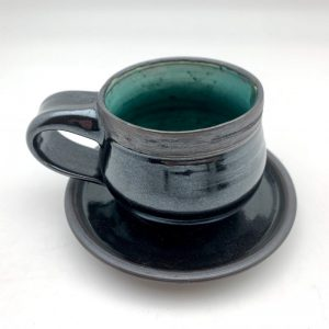 Teal black Porcelain Espresso Cup and Saucer by Margo Brown