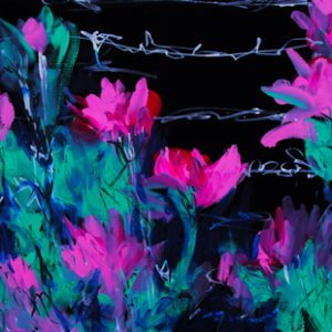 pink green Flowers on black backgroun painting by Kelsey McDonnell